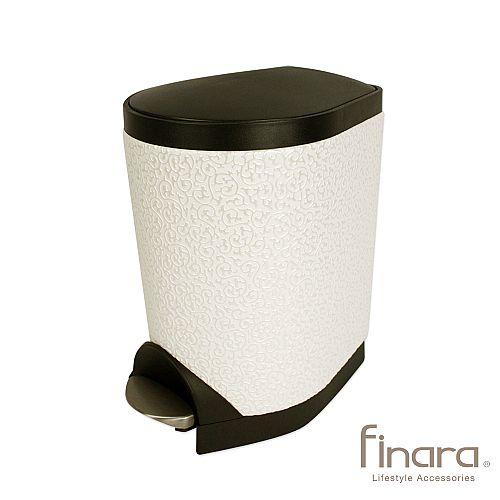 豪宅风明夏白脚踏式垃圾桶5l(小)-102
